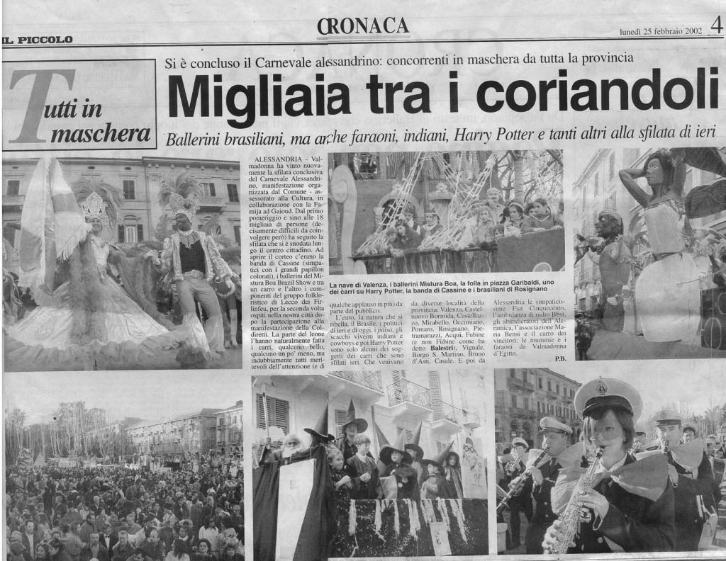 """Da """"Il Piccolo"""" - 25 febbraio 2002"""